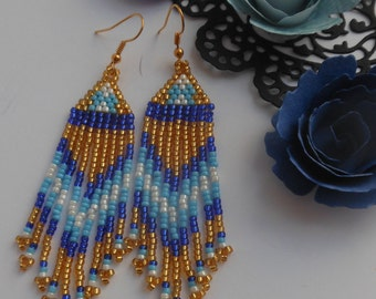 long Beaded earrings Blue earrings Boho earrings Fringe earrings Beadwork jewelry Ethnic style Jewelry earrings Weaving beads