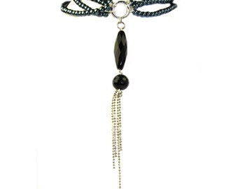 Multi Strand Glass Pearl and Tassel Necklace. Handmade in the U.S.A.