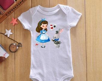 Alice in wonderland onesie, alice in wonderland baby outfit, baby girl clothes, baby girl shower gift, baby girl bodysuit, baby girl outfit