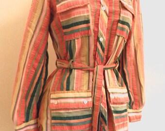 1970s striped tie waist ruffle shirt by Bellino