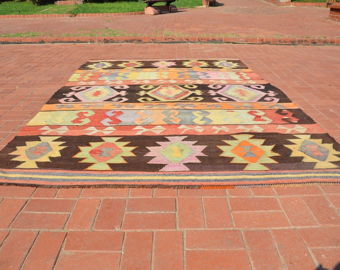 kilim rug 6x10, turkish kilim rug, pastel kilim rug, boho rug, floor rug, antique kilim rug, bohemian rug, livingroom decor, kelim rug
