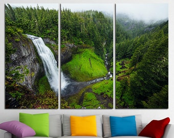 Mountains Wall Art Print Waterfall Canvas Landscape Wall Art Landscape Canvas Art Nature Multi Panel Set Mountains Wall Decor Forest Print