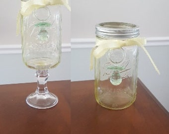 Standard or Tall Mason Jar Yellow Tinted Neutral Baby Shower Centerpiece