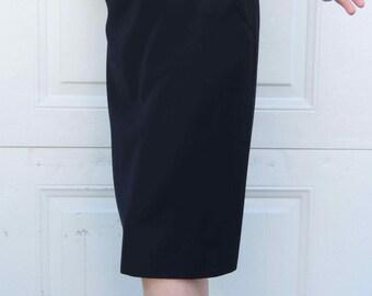 80s XL Retro Fabulous Authentic Size 12 Black Max Mara Italian Pencil Skirt! Finest Quality! Size L/XL