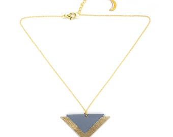 """Handmade necklace leather triangles """"Art deco"""" gold and blue"""