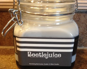 Black & White Striped 'Beetlejuice' Candle