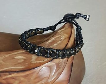 "Large crystals with Chan Luu bracelet ""Black-black"""