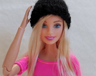 Black Barbie hat, knitted beanie, colorful doll hat