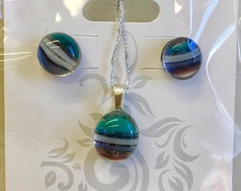 Fused Glass Earring and Pendant set