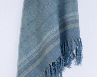 Handwoven, Hand-dyed, Woolen Shawl