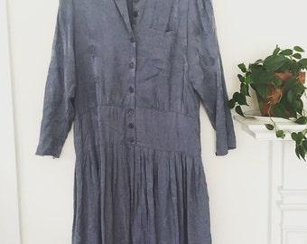 Blue Textured Silk Vintage 80's Drop-Waist Dress