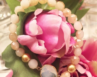 Desert Gemstone Stretch Bracelet, Stackable bracelet, beaded bracelet