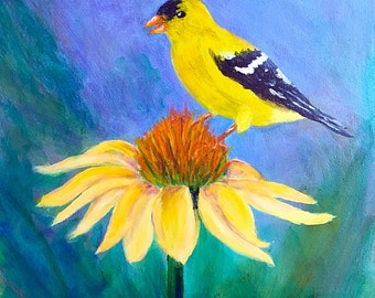 Goldfinch on a Sunflower