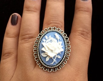25x18 Cameo Rings, Resin Cabochon Rings, Cameo Jewelry,