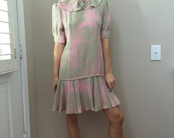 Vintage Jade and Pink Ruffle Babydoll Dress