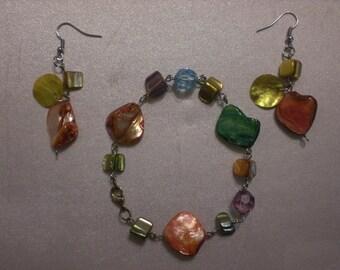 Handmade Beaded Pierced Earrings and Matching Bracelet