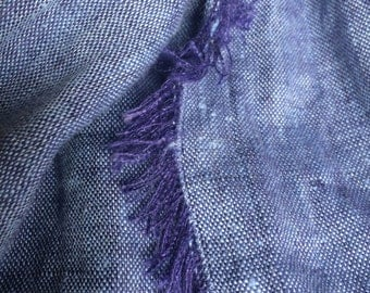Blue Linen Scarf | Linen Scarf | Linen Shawl | Summer Scarf | Pure Linen Scarf | Scarf with Fringes | Natural Linen Scarf | Women Scarf