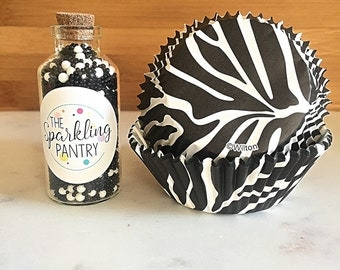 Zebra Print Cupcake Kit, Decorating Kit, Black and White Sprinkles and Liners