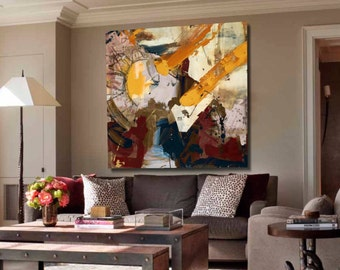 Large Hand Painted Square Abstract Acrylic Painting on Canvas. Handmade Modern Contemporary Art. Yellow, Red, Brown, White Painting