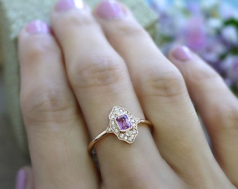 18K solid gold emerald cut pink sapphire and diamond art deco ring