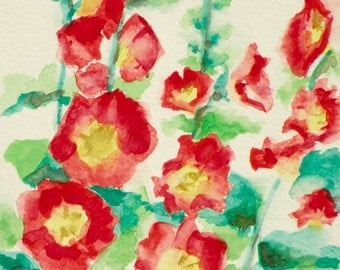 Hand Painted Red Hollyhocks Greeting Card