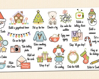 21 Christmas Bucket List Stickers | Winter Bucket List | To Do List Planner Stickers | Fits Erin Condren and Other Popular Planners