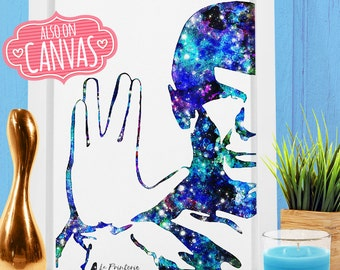 Star Trek Wall Art Canvas, Spock Art Prints Wall Decor, Star Trek Watercolor Art Canvas Print Poster, Kids Room Nursery Decor Girl Kids Gift