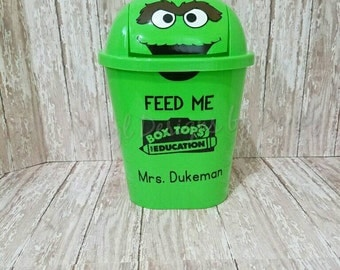 Box Tops for Education - Personalized Oscar the Grouch - Trash Can - Teacher Gift