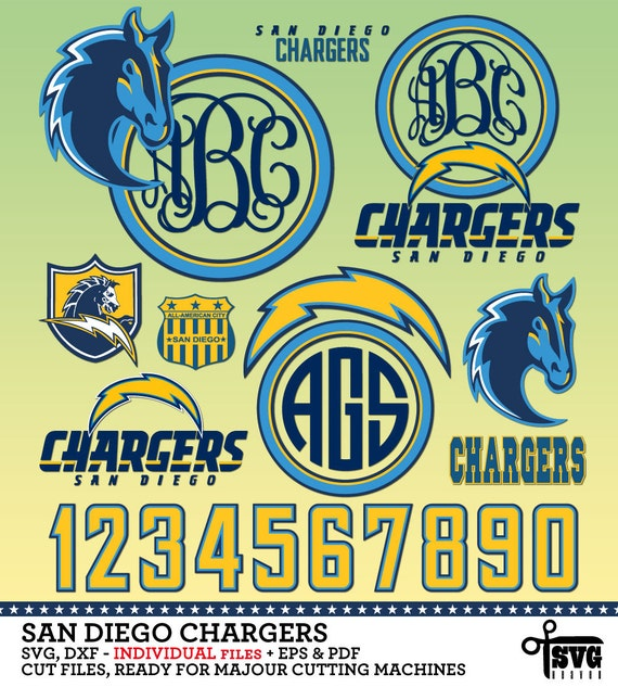 San Diego Chargers Cuts: San Diego Chargers Monogram Frames. Vector By SVGheavenSTORE