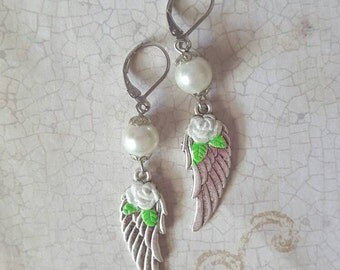 Angelic - Hand Painted Winged Rose Earrings with Crystal in Pearl White