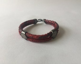 Leather Bracelet with Silver Details