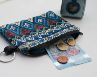 Coin purse ethnic -  zipper pouch ethnic - coin purse - card wallet change pouch - women accessories