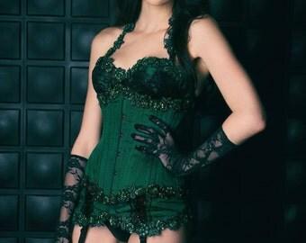 Emerald Green Dupioni Silk Under Bust Corset and Garter Set