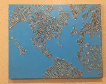 "Blue and Gold Mehndi Style Map, Henna Style Map, Mehndi Painting, Henna Painting(16""x20"")"
