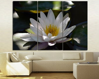 Large Wall Water Lily Canvas Color Water Lily Multipanel Canvas Lake&Flower  Art Large Flower 1-3-4-5 Panel Water Lily