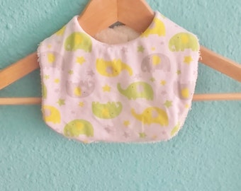 Elephant organic cotton bib