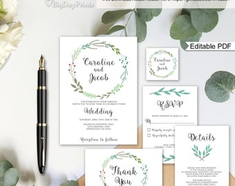 Garden Wedding Invitation Printable, Wedding Invitation Suite Template, Invitation Set, #A003A, Editable PDF - you personalize at home.