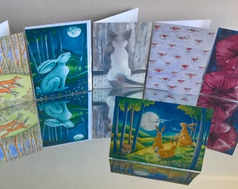6 Card Pack - lovely variety of designs suitable for many occasions. Quality printed cards also blank inside. FREE POSTAGE to UK and Europe.