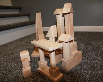 Block set, Wooden blocks, wooden block set, kids wooden toys, wood blocks, 32 Piece Maple Block Set, block toys, hand eye coordination toy