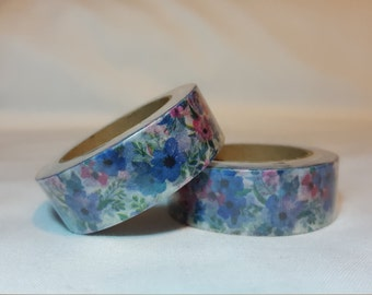 Washi Tape/ Craft Tape- Blue and Pink Flowers, Florals