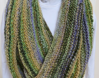 Hand Knitted Luxury Yarn Infinity Scarf