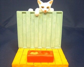 Business card holder (cat figure attached)