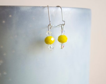 Yellow Crystal and Faux Pearl Dangle Earrings