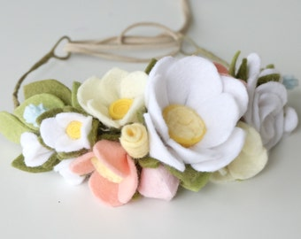 Felt Flower Crown - Felt Flower Headband - Baby Crown - Flower Crown - Flower Headband - Baby Shower Gift - White Flower