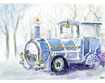 Magical snowy train watercolour, Art print A5, winter forest, magic trains, snowfall, home decor painting, gift for man, for boy