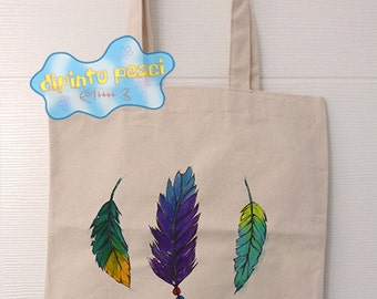 Feathers Handpainted Tote Bag