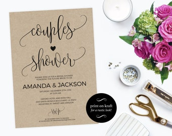 Printable Couple's Shower Invitation - Couples shower invitation printable - Wedding Shower Invitation PDF Instant Download  #WDHOO82