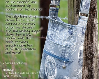 The Mailbag Crossbody Bag PDF Sewing Pattern Includes Two Sizes. Triple Zip Hipster Bag Pattern RLR Creations