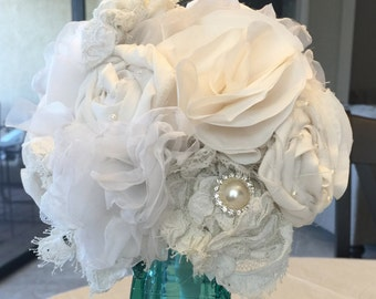 Fabric flower bouquet, made using fabricfrom mom/grandma's vintage gown, wedding bouquet, rehearsal bouquet
