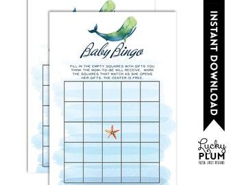 Whale Baby Bingo / Nautical Baby Bingo / Whale Baby Games / Ocean Baby Bingo / Starfish Anchor / DIY Printable WH02